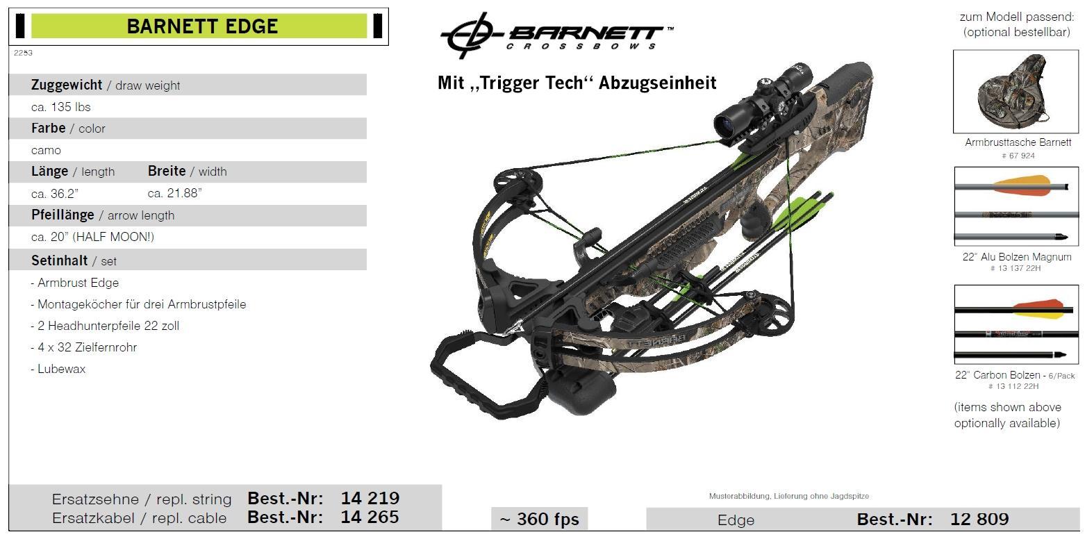 BARNETT EDGE Zuggewicht 135 lbs Armbrustgewehr Set
