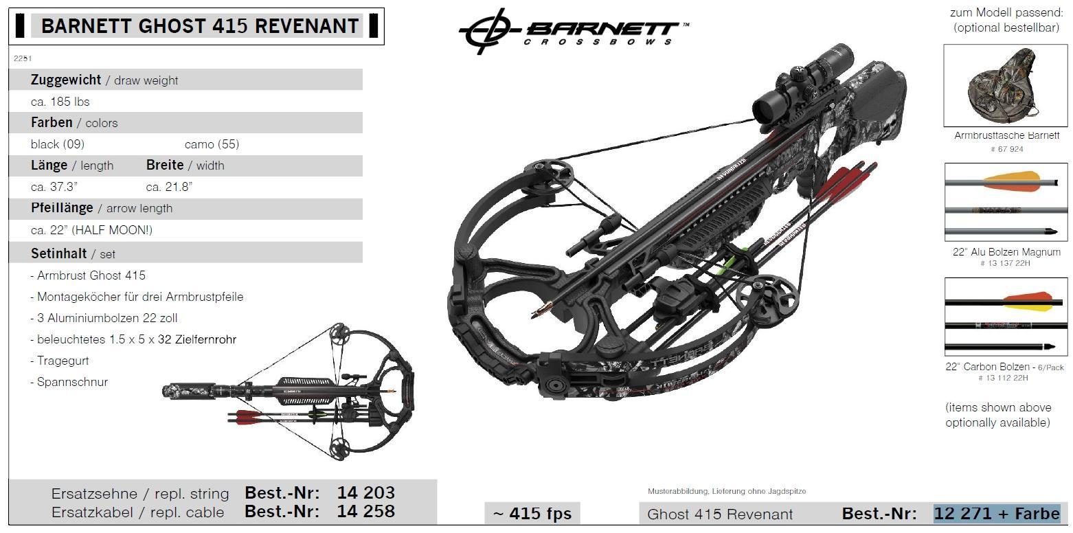 BARNETT GHOST 415 REVENANT 185 lbs Armbrustgewehr Set