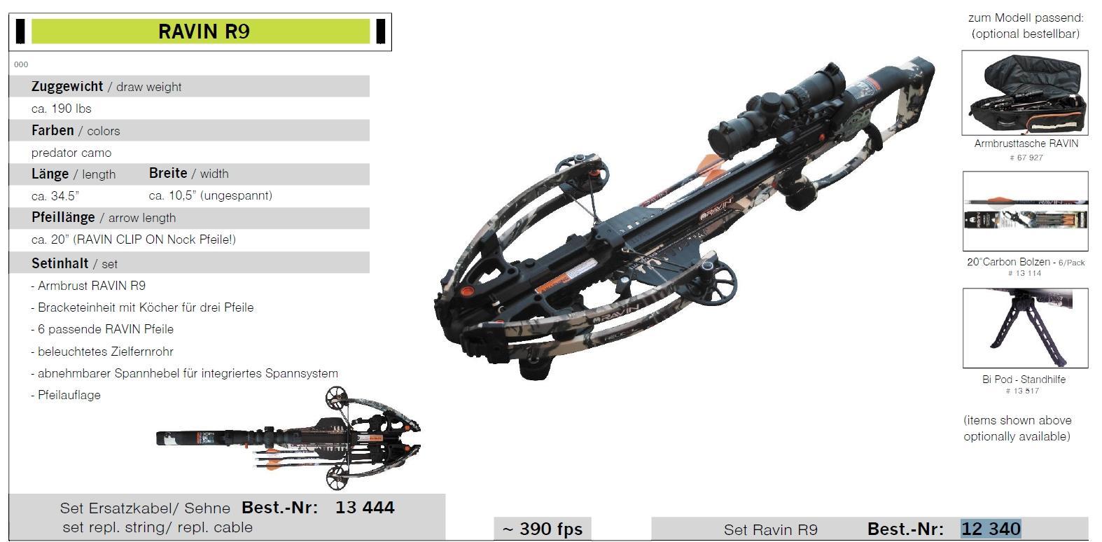 RAVIN R9 Predator Zuggewicht 190 lbs Armbrustgewehr Set