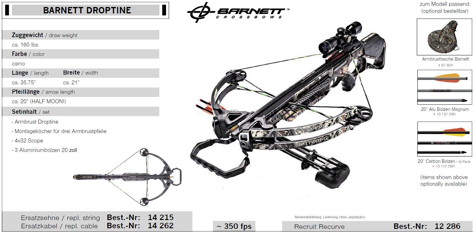 BARNETT DROPTINE Armbrust set Zuggewicht 160 lbs