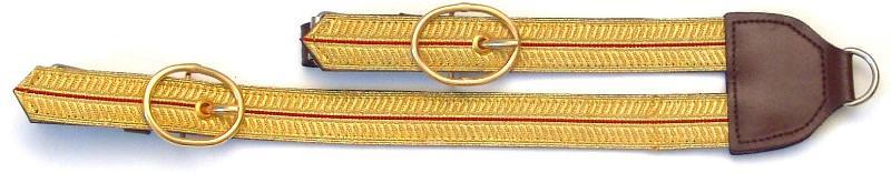 Degenschlaufe kaufen für Säbel mit Kuppelaus Leder Braun Gold Rot