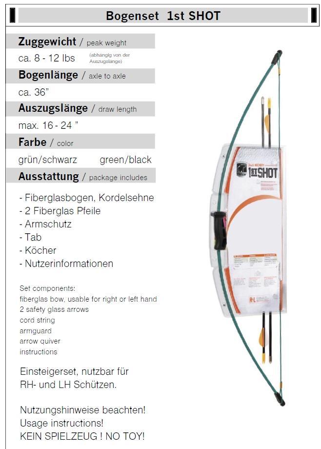 Fiberglasbogen Bogenset 1st SHOT 12 lbs Länge 36 Zoll