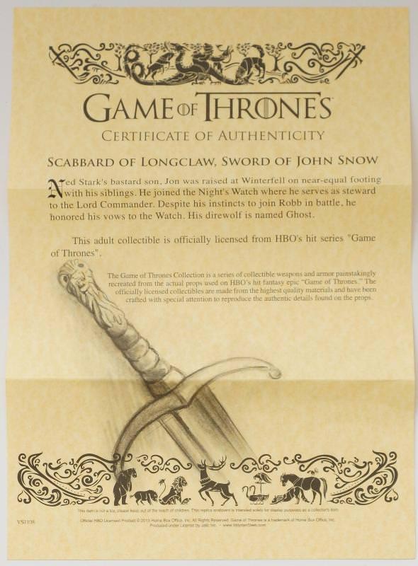 Game of Thrones Longclaw Game of Thrones Schwertscheide vom Jon Snow Jon Schnee