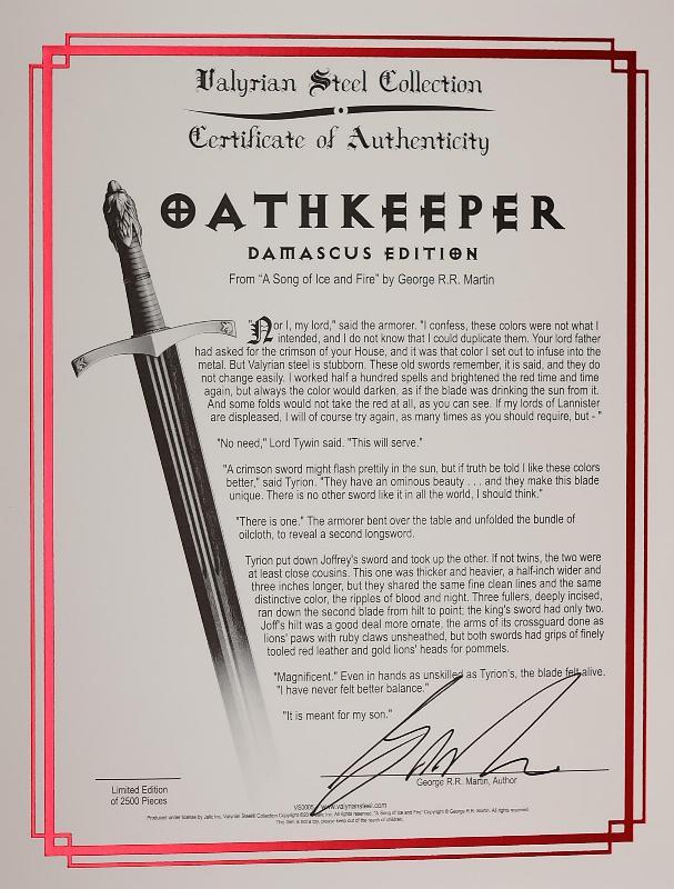 Game of Thrones Schwert Oathkeeper Red Damascus offizielles Game of Thrones ® Lizenzprodukt auf 2500 Stück limitiert Zertifikat
