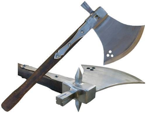 Kampfbeil kaufen mit Seitendornen und Hammer Mittelalter