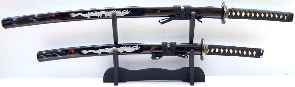 """Katana kaufen das Samurai Schwert 2er Set """"Weißer Drache"""" kaufen"""