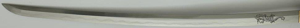 Katana- Samurai Schwert aus Damast- gefaltet + Drachengravur + doppel Bo Hi kaufen