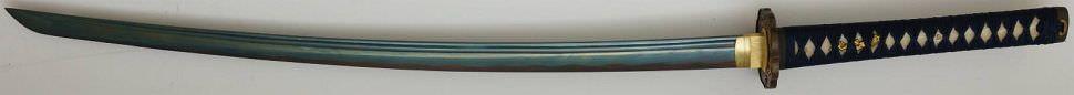 Katana- Samurai Schwert kaufen Tenno Sushun + gefaltet- Damast Blauschimmer