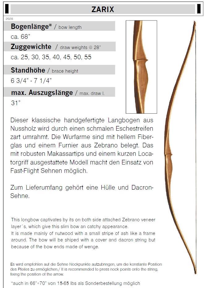 Langbogen ZARIX 25 - 55 lbs Länge 68 Zoll
