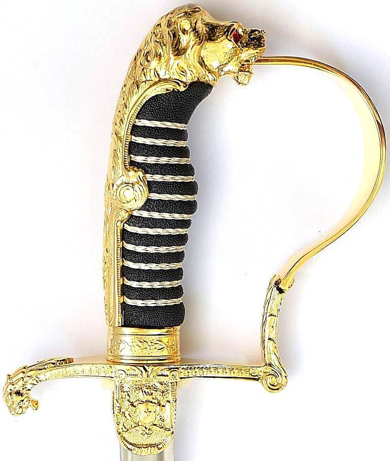 Löwenkopfsäbel kaufen 24-Karat hartvergoldet, mit rostfreier Stahlklinge