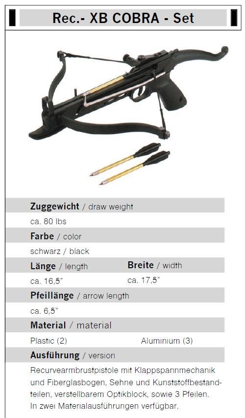 Pistolenarmbrust COBRA 80 lbs 165 fps Rec.- XB
