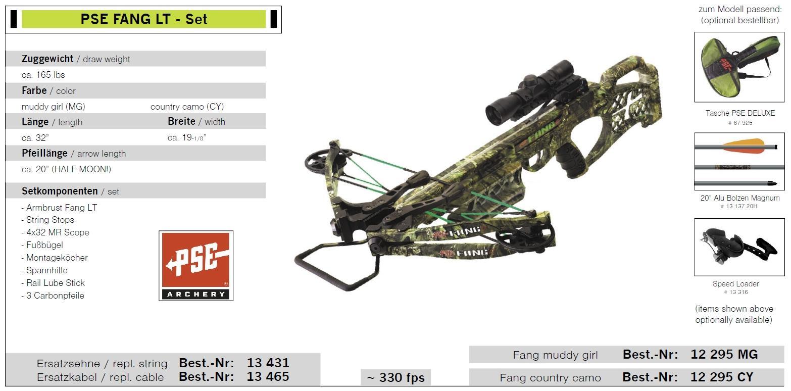 PSE FANG LT - Set Armbrust Zuggewicht 165