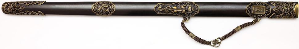 Qi Jian Tai Chi Schwert aus Damast kaufen Die Scheide