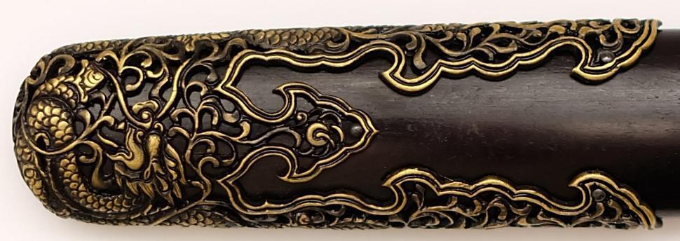 Qi Jian Tai Chi Schwert aus Damast kaufen Kappe der Schertscheide