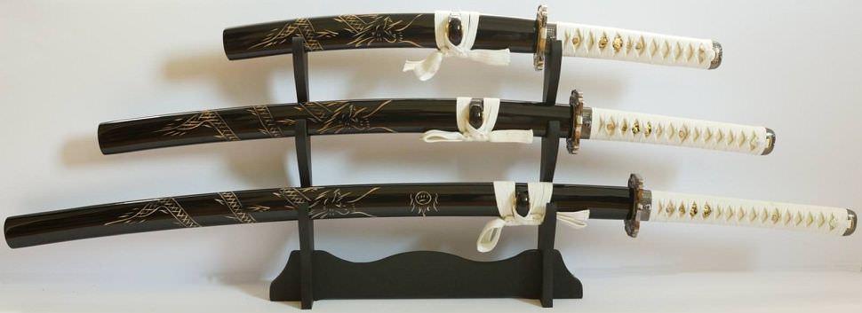 Samurai Katana 3er Set, schwarz weiß + Gefaltet- damast + Drachen in Saya
