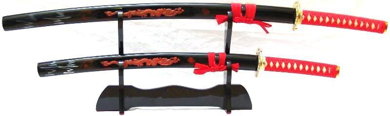Samurai Katana Schwert 2er Set roter Drache II kaufen