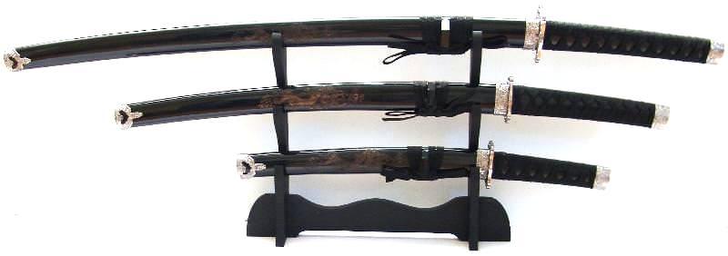 Samurai Katana Set kaufen Drachenschwert schwarz