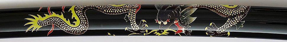 Samurai Schwert- Katana + Drache auf Saya, Tsuba + gefaltet- Damast