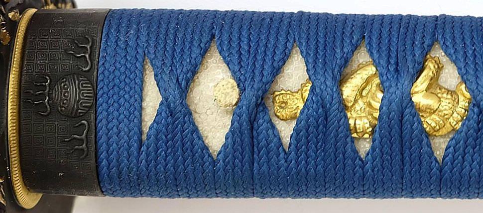 Katana- Samurai Schwert Aki blauschimmer + Gefaltet- damast
