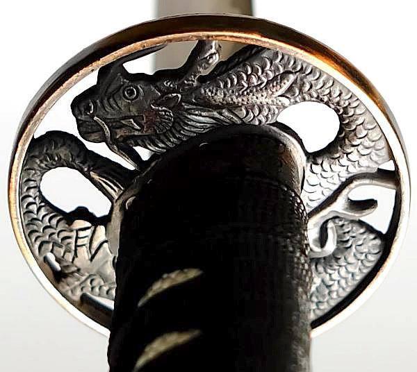 Samurai Schwert- Katana Blauer Drache Tsuba