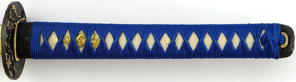 Samurai Schwert- Katana + blaue Saya und Griff + Gefaltet- damast