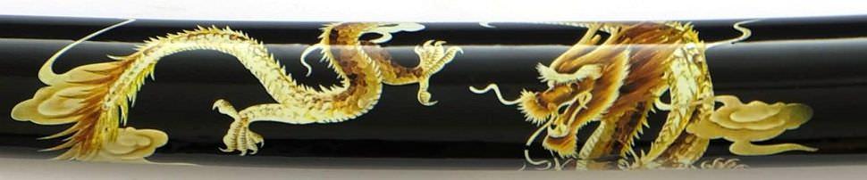 Samurai Schwert + Drache auf der Schwarzen Saya + gefaltet