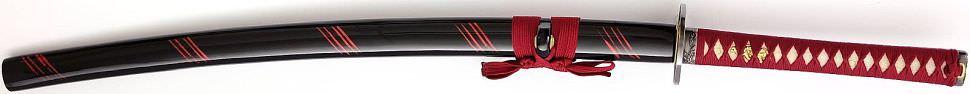 Katana- Samurai Schwert Horikawa Schwarz Rote Saya + Gefaltet- damast