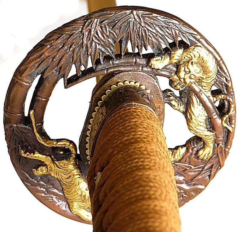 Samurai Schwert- Katana Tiger mit Damast- gefaltet kaufen