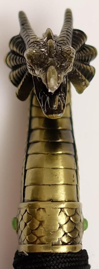 Samuraischwert golden Dragon seiten ansicht knauf
