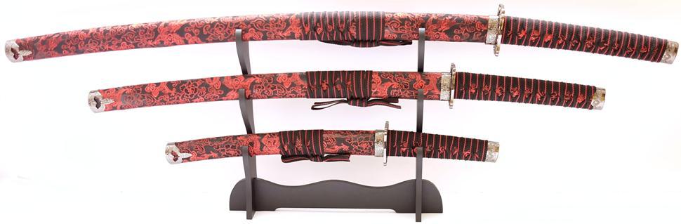 Samuraischwert Set Roter Drache Katana Wakizashi Tanto mit Schwertständer