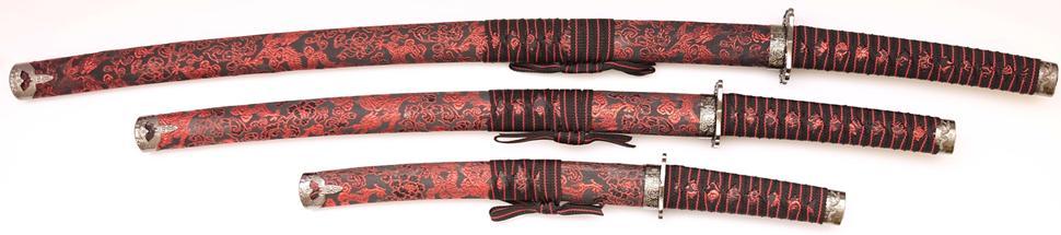 Samuraischwert Set Roter Drache Katana Wakizashi Tanto
