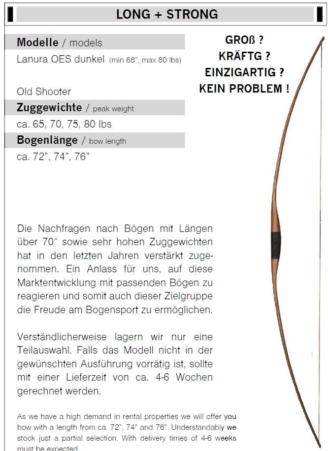 Starker Langbogen Lanura 65 - 80 lbs Länge 72 - 76 Zoll