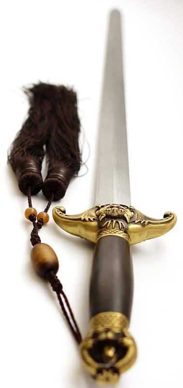 Tai Chi Übungsschwert aus Damast - gefaltet, Han-Zhao kaufen Seitlich