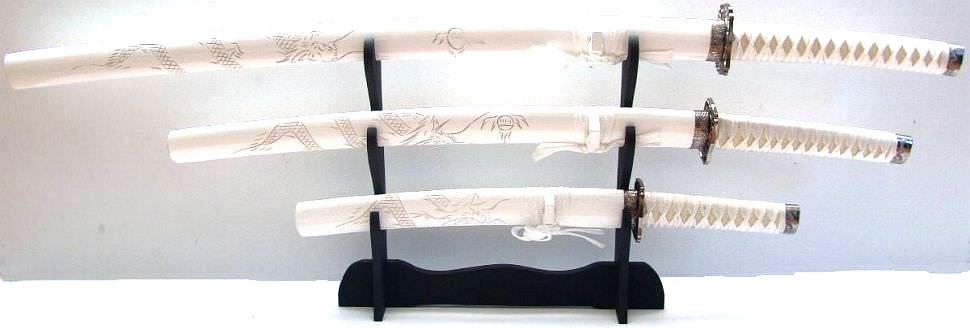 weiße Samurai Schwerter- Drachen Katana 3er Set