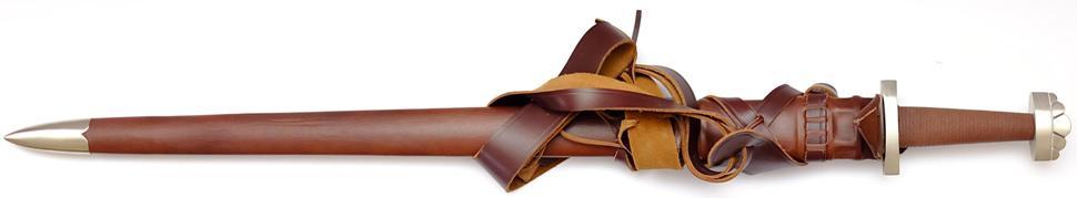 Wikingerschwert Scharf mit brauner Scheide und Gürtel mit allem