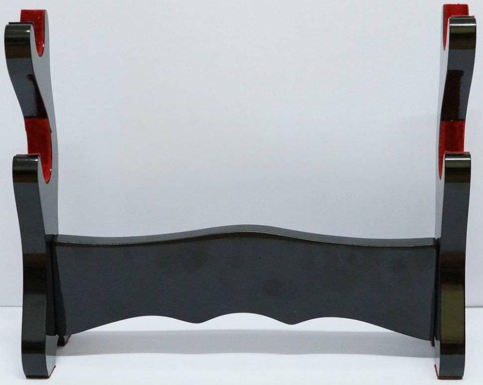 Katana Schwert Ständer 2er und Wandhalter Schwarz mit Stoffauflage kaufen
